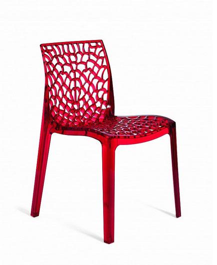 GRUVYE transparentná stolička, rosso