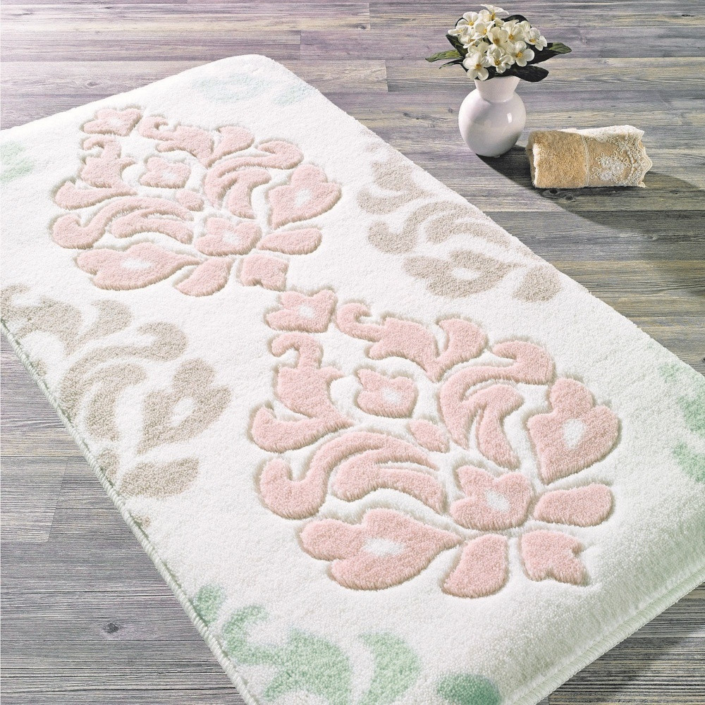 Ružová predložka do kúpeľne Confetti Bathmats Damask, 80x140cm