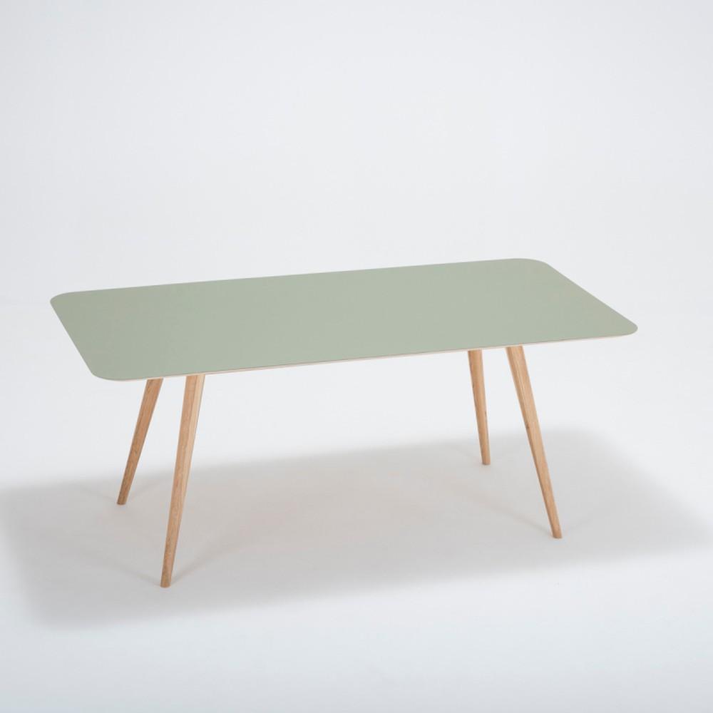 Jedálenský stôl z masívneho dubového dreva so zelenou doskou Gazzda Linn, 180×90cm