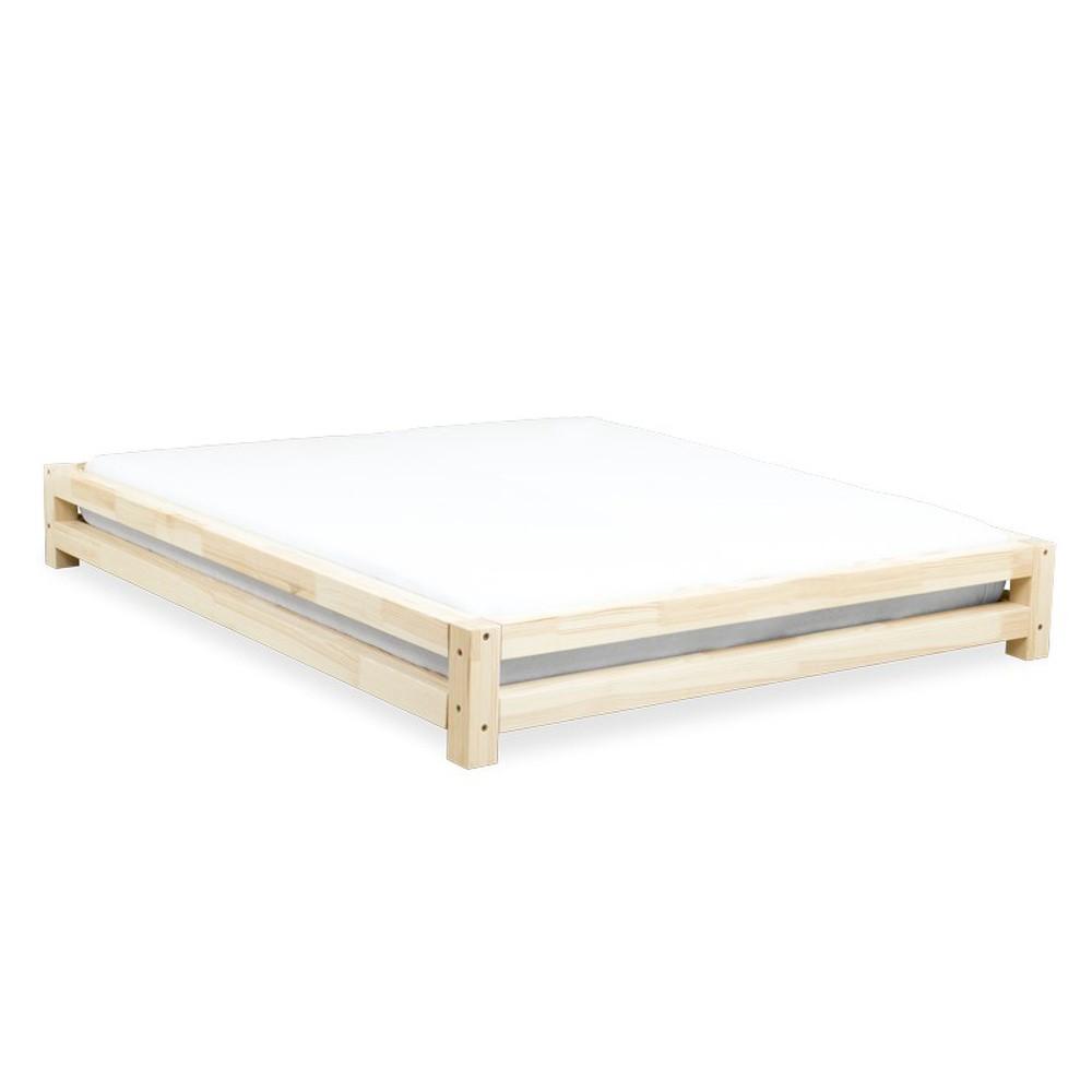 Dvojlôžková posteľ zo smrekového dreva Benlemi JAPA Natural, 200 × 190 cm