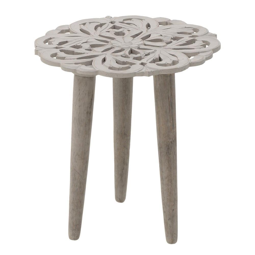 sivý odkladací stolík z mangového dreva InArt Antique, ⌀ 40 cm