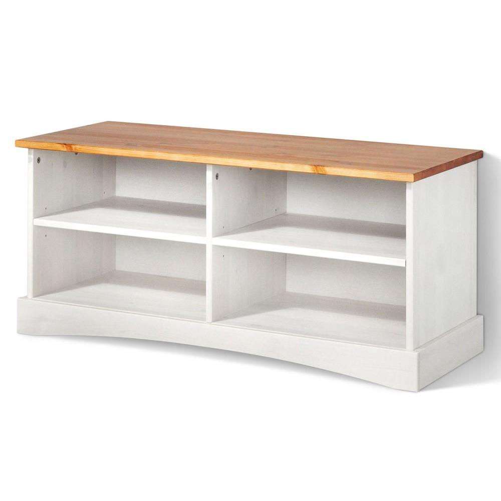 Biely TV stolík z masívneho borovicového dreva s hnedou doskou Støraa Yvonne