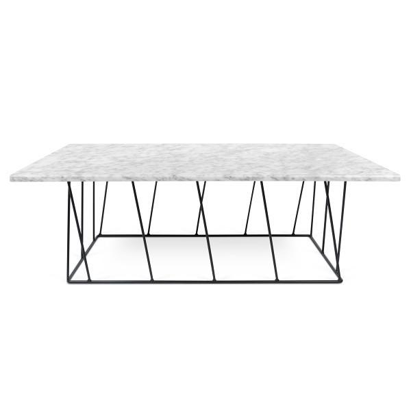 Biely mramorový konferenčný stolík s čiernymi nohami TemaHome Helix, 120cm