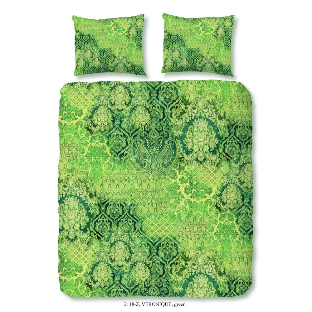 Zelené obliečky na dvojlôžko z bavlneného saténu Muller Textiels Laguna, 200×200 cm