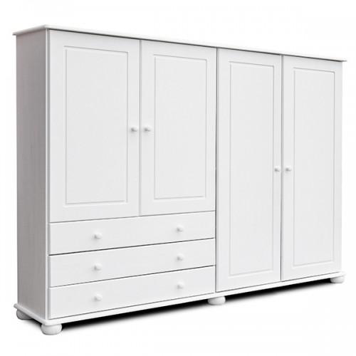 Biely nábytok Šatníková skriňa Margit 4D, masív, biela, borovica