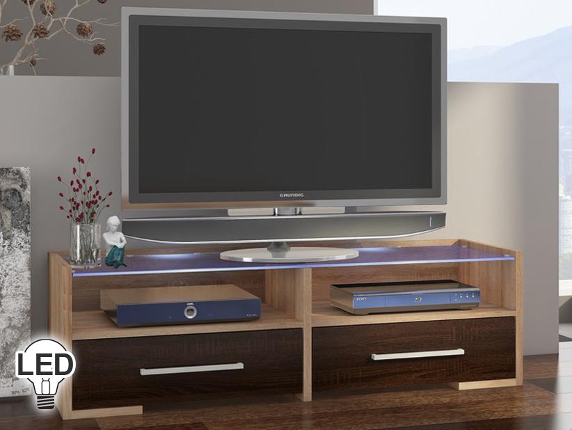 TV stolík/skrinka Semprio (sonoma svetlá + tmavá)
