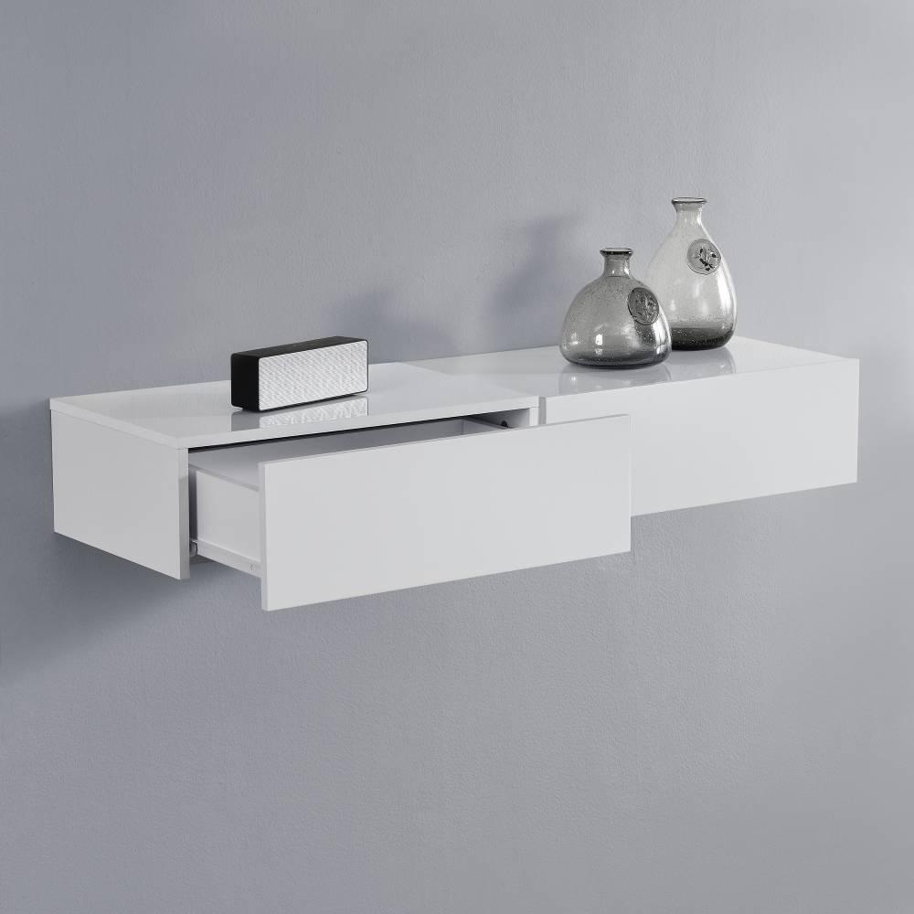 [en.casa]® Nočný stolík na stenu - dvojkombinácia - biela s vysokým leskom