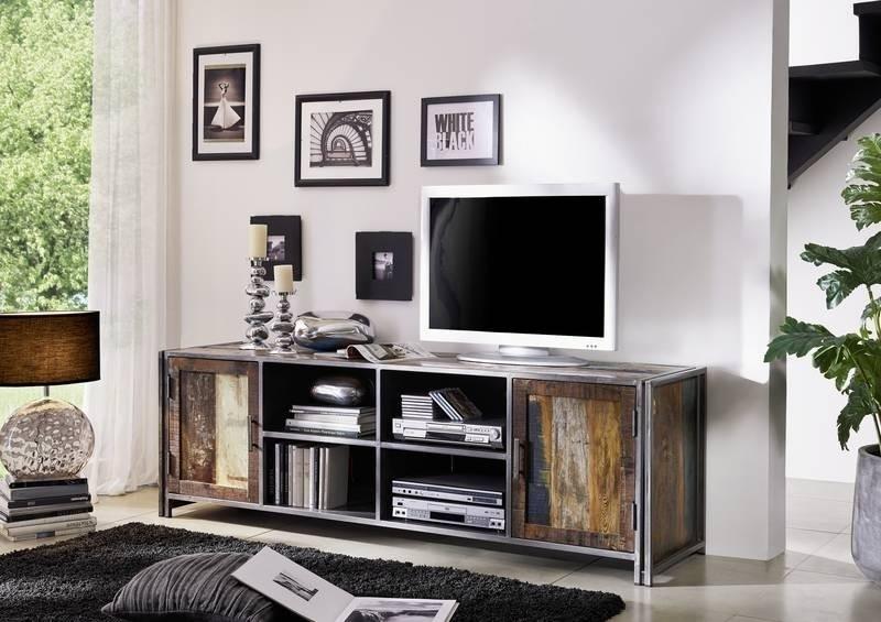 NEW YORK TV stolík #04 staré lakované indické drevo/kov