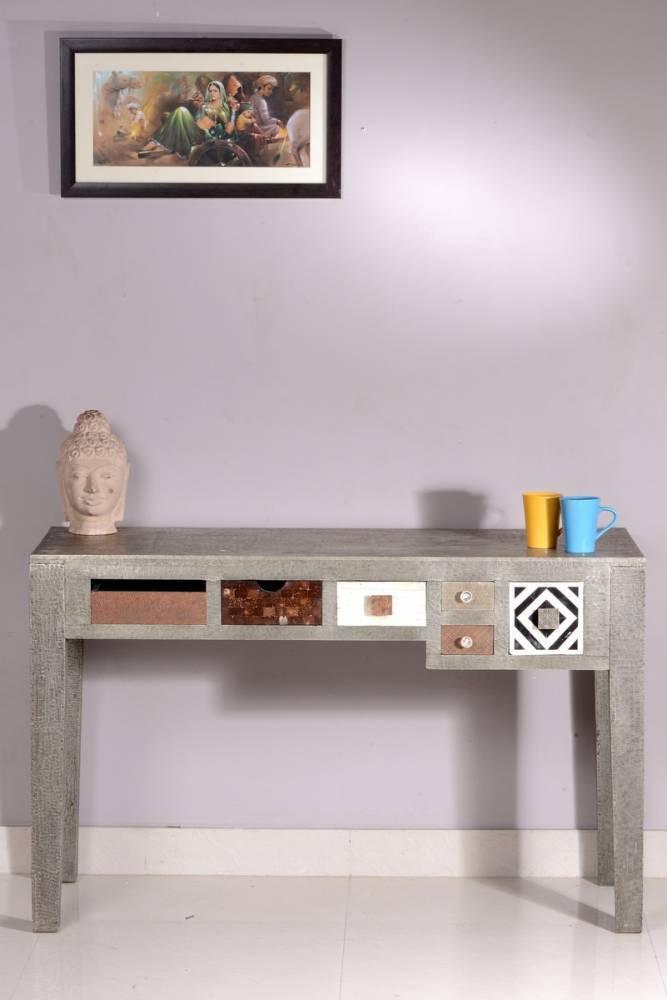 Písací stôl METALIKA 115 cm  - strieborná