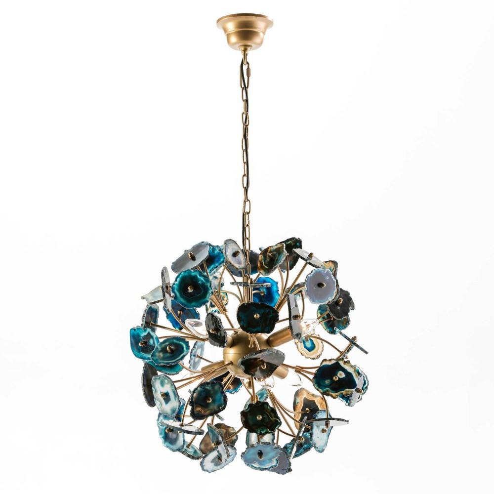Modré závesné svietidlo z kovu a achátu Thai Natura Agate