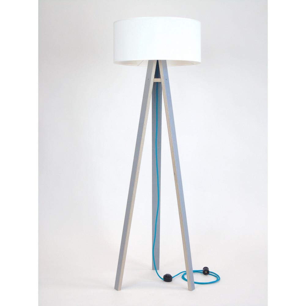 Sivá stojacia lampa s bielym tienidloma tyrkysovým káblom Ragaba Wanda