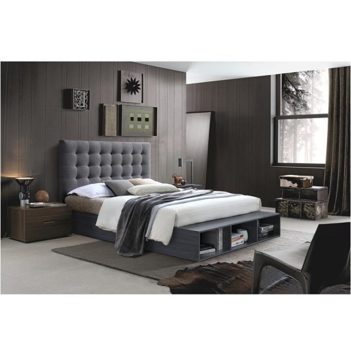 TEMPO KONDELA Manželská posteľ s regálom, sivá, 180x200, TERKA