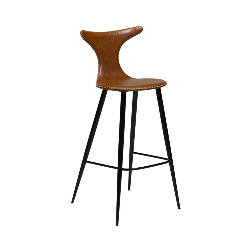 Koňakovohnedá barová stolička z eko kože DAN–FORM Denmark Dolphin, výška 107 cm