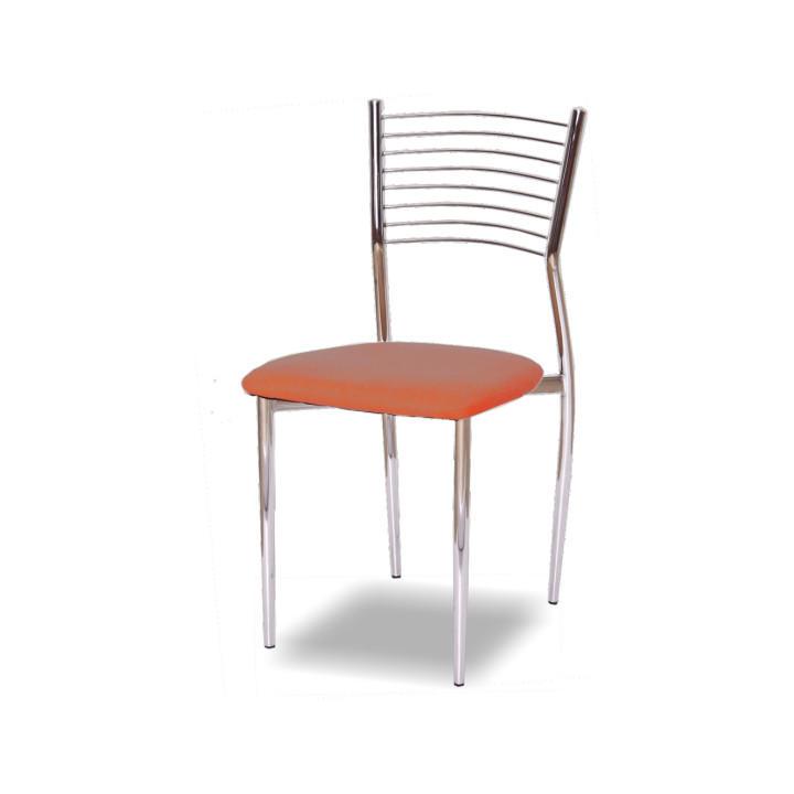 Stolička, ekokoža oranžová/chróm, ZAIRA