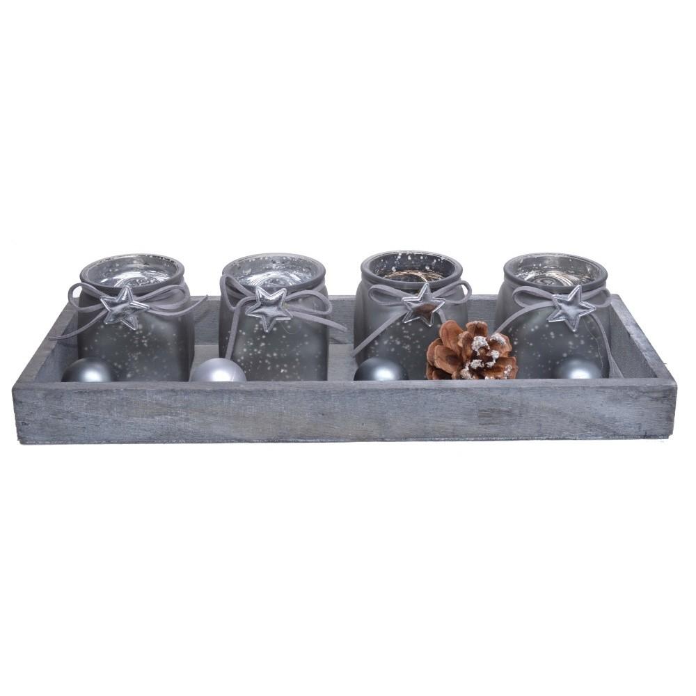 Sada 4 sivých sklenených svietnikov na drevenom podnose Ewax