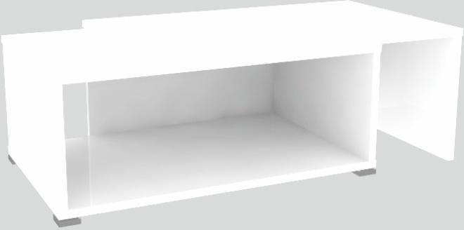 Konferenčný stolík, rozkladací, biela/biela, DRON
