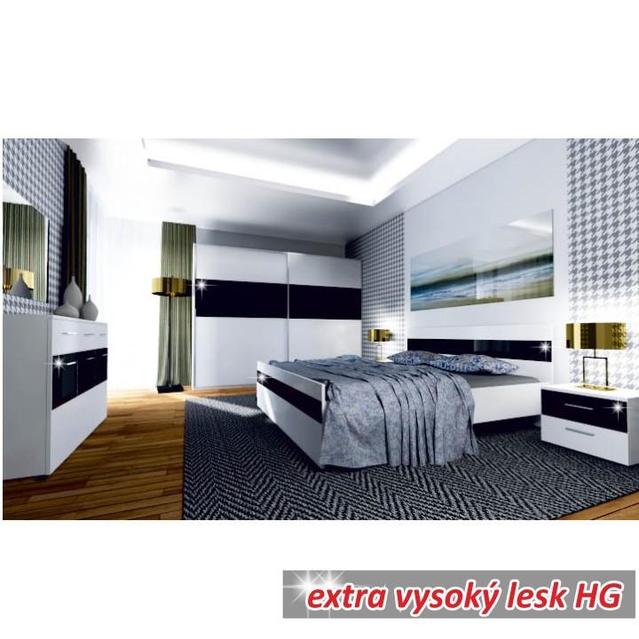Spálňa, biela/čierny lesk HG, DEVON NEW