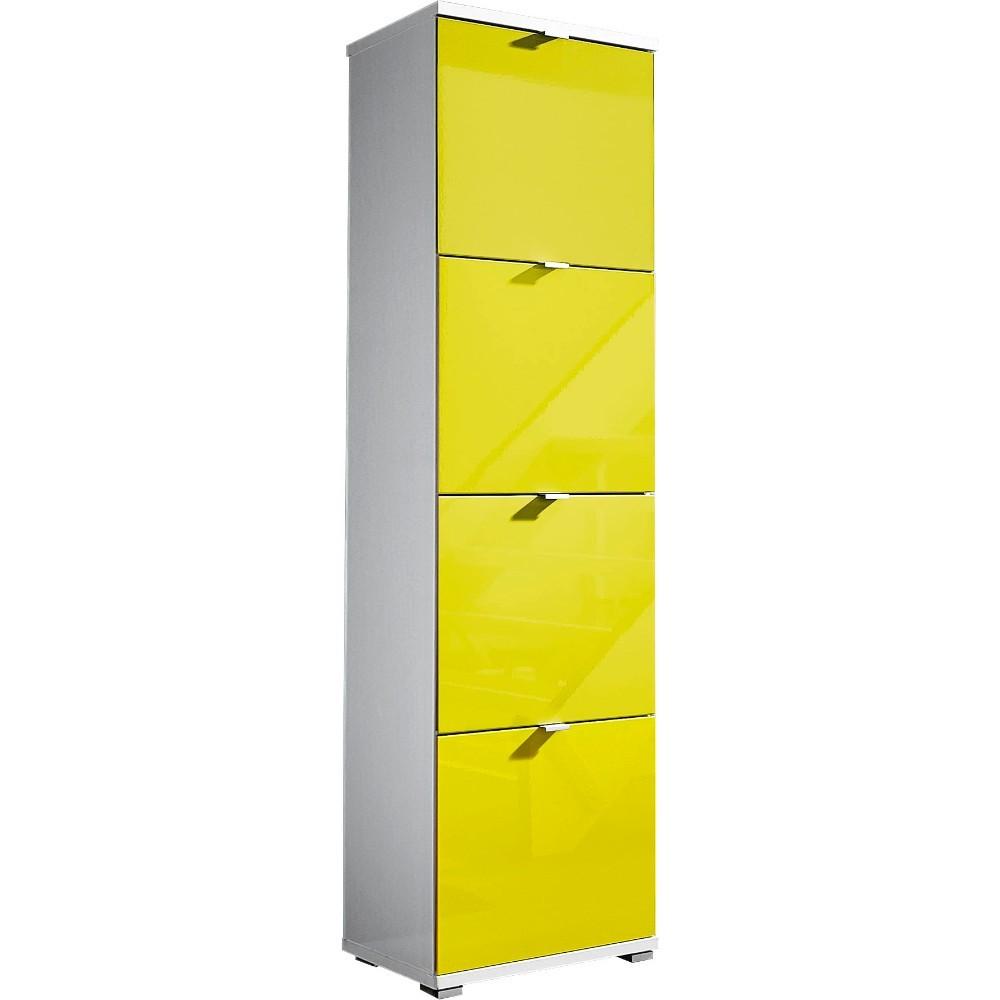 Biela skrinka na topánky so žltými zásuvkami Germania Colorado, výška 174 cm