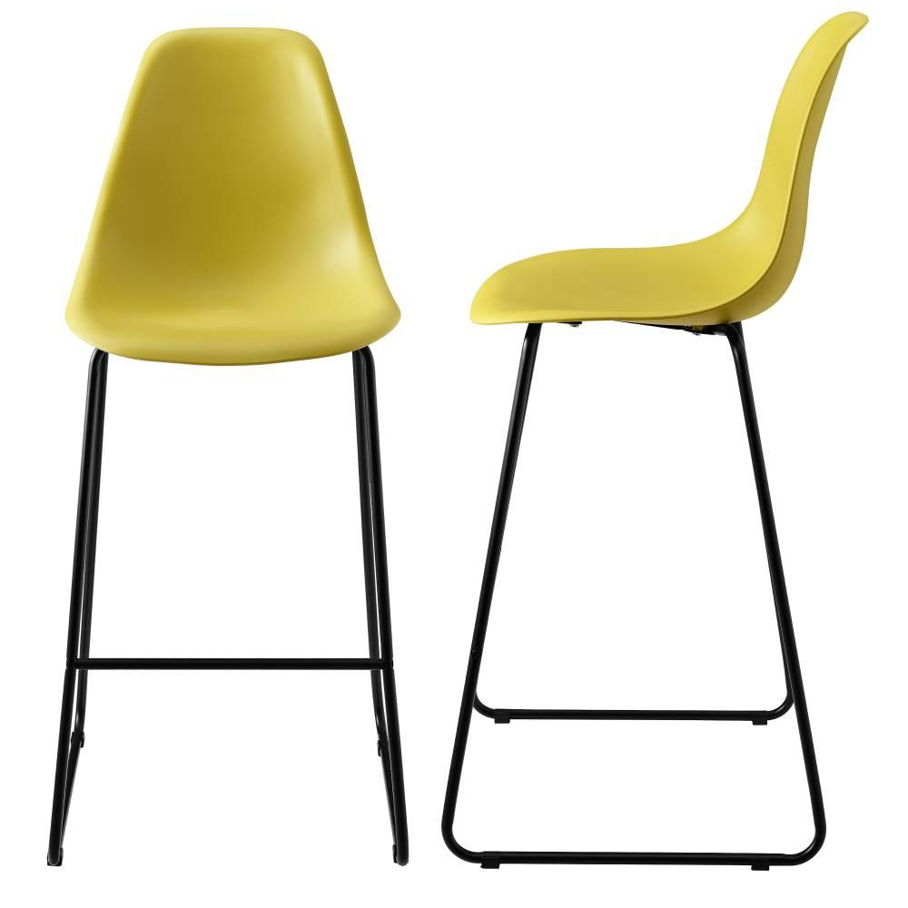 [en.casa]® Dizajnové barové stoličky (2 kusová sada) - muštárovo žlté