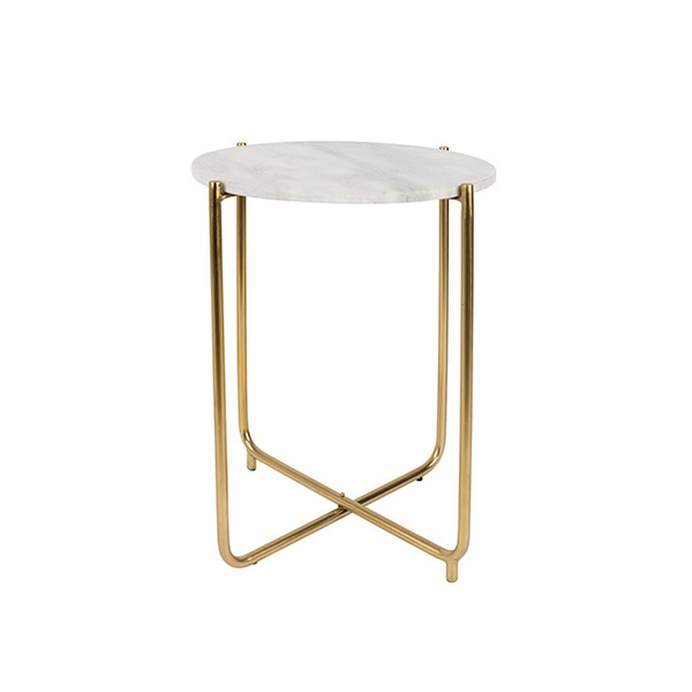 Biely odkladací stolík s mramorovou doskou White Label Timpa