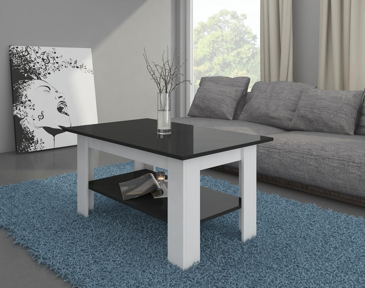 Konferenčný stolík Elaiza (biela + lesk čierny)