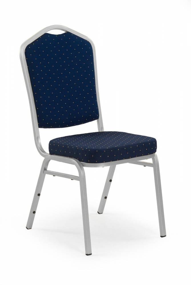 Jedálenská stolička K66S (strieborná + modrá)