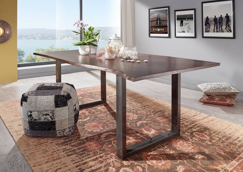 Bighome - METALL Jedálenský stôl s hnedými nohami 160x90, akácia, hnedá