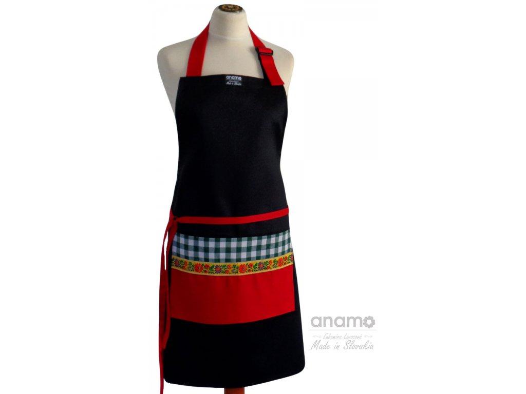 Zástera Anamo ľudová čierna s červeným vreckom