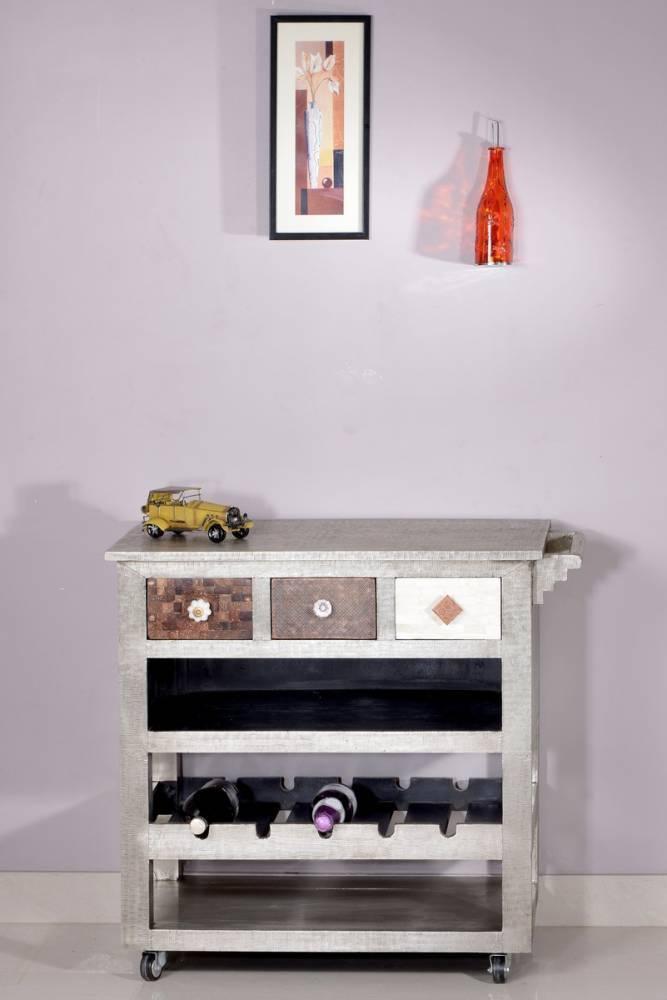 Príručný stolík METALIKA 78 cm - strieborná