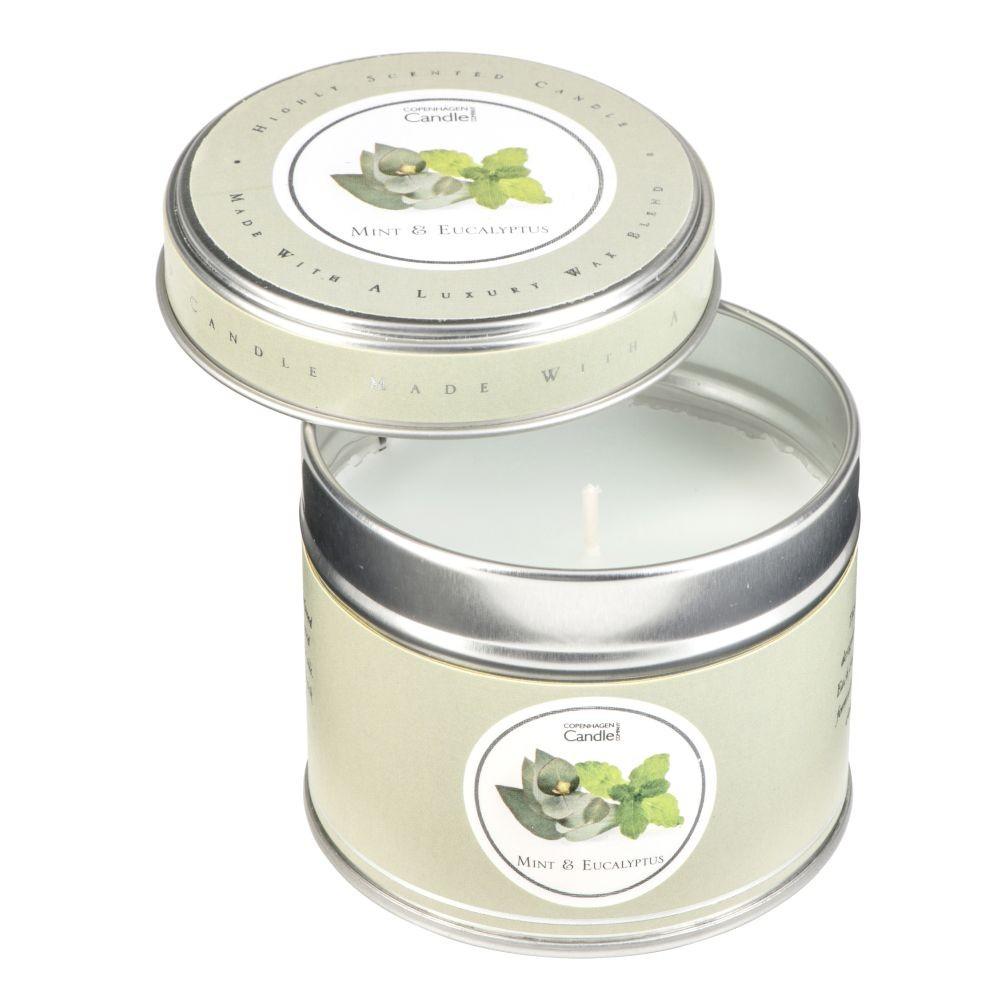 Aromatická sviečka v plechovke Copenhagen Candles Mint & Eucalyptus, doba horenia 32 hodín