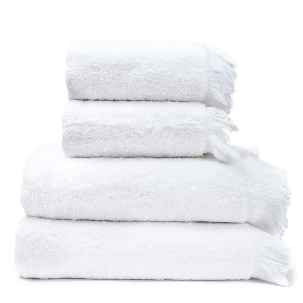Set 2 bielych bavlnených uterákov a 2osušiek CasaDiBassi Bath