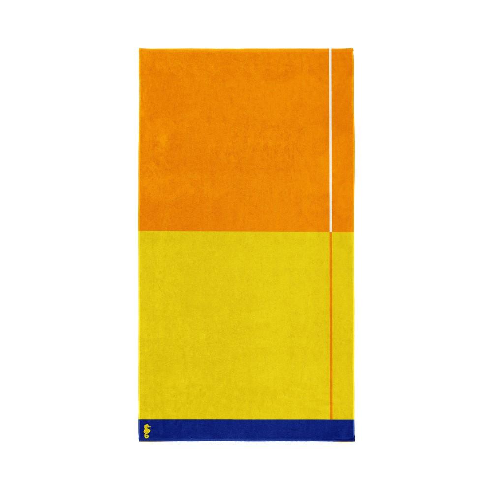 Žlto-oranžová bavlnená osuška Seahorse Block, 180×100cm