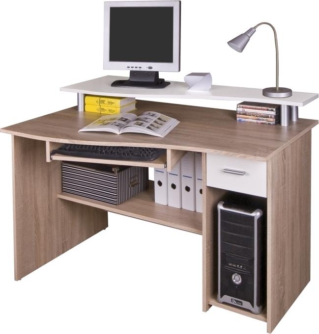 PC stolík, dub sonoma/biela, PLUTO