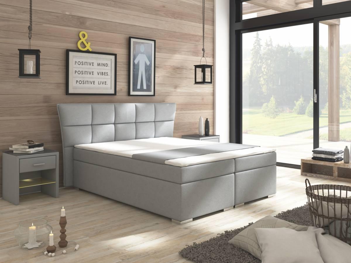 Manželská posteľ Boxspring 160 cm Warren (s matracmi) (sivá)