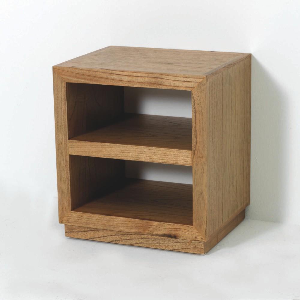 Hnedý drevený nočný stolík Thai Natura Boxxy, 50×55 cm