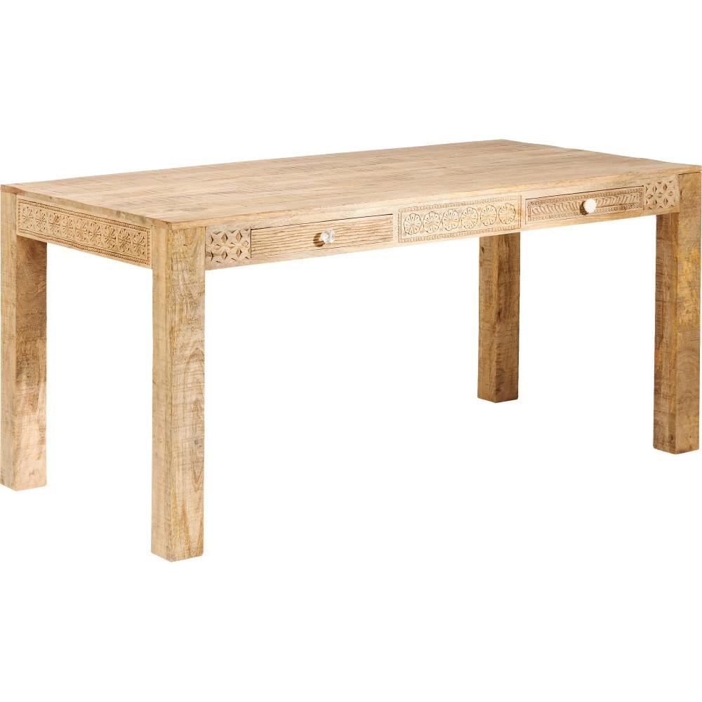 Jedálenský stôl s 2 zásuvkami a ručne vyrezávanými detailmi Kare Design Puro, dĺžka 180 cm