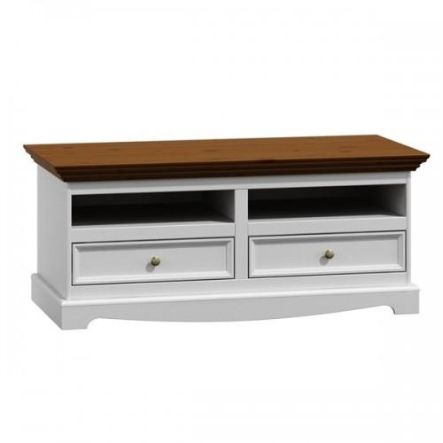 Biely nábytok TV komoda Belluno Elegante, dekor biela / orech, masív, borovica