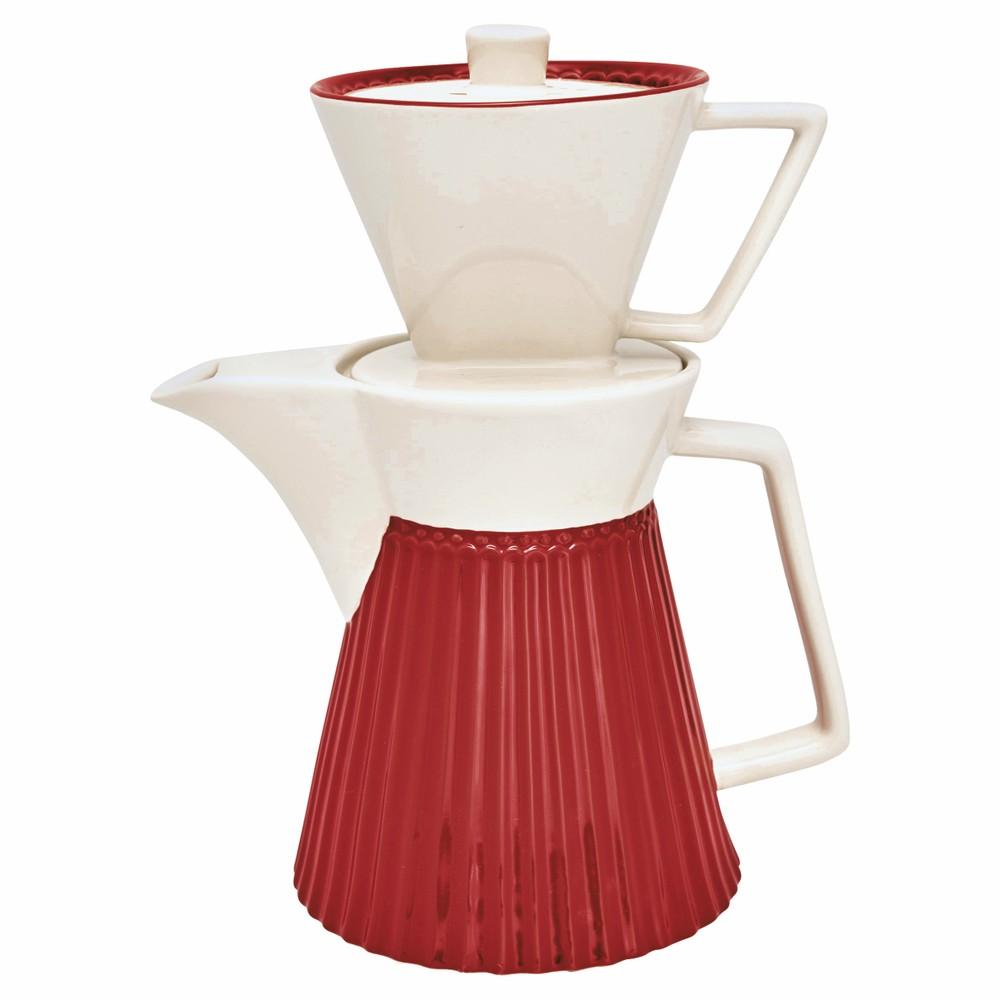 Červená kameninová kanvice na kávu s filtrom Green Gate Alice
