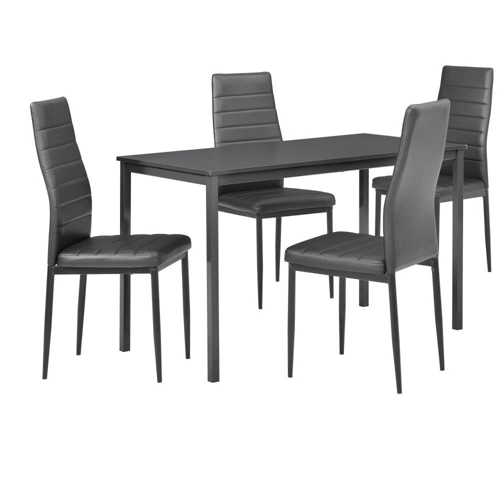 [en.casa]® Štýlový dizajnový jedálenský stôl (120 x 60 cm) - so 4 elegantnými stoličkami (tmavo sivé)