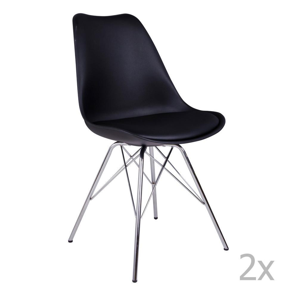 Sada 2 čiernych stoličiek House Nordic Oslo Chrome