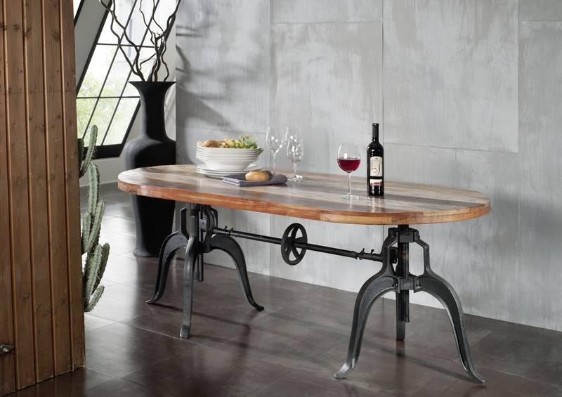 Masiv24 - INDUSTRY stôl #04, liatina a staré drevo