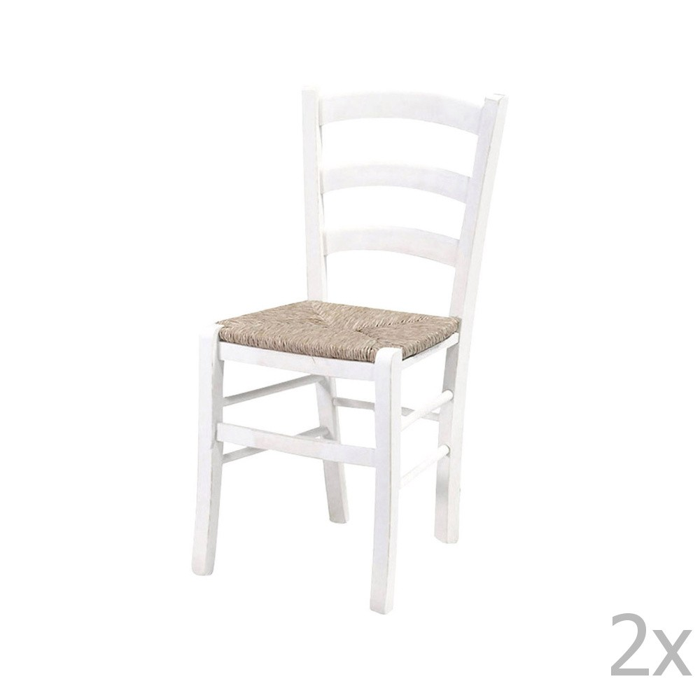 Sada 2 bielych jedálenských stoličiek z masívneho dreva Crido Consulting Straw