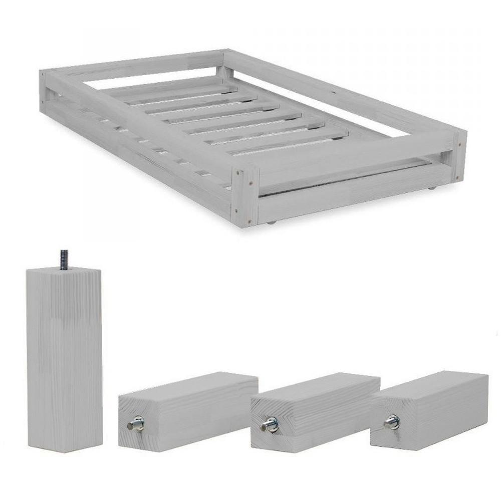 Set sivej zásuvky a predĺžených noh zo smrekového dreva k posteli Benlemi Funny, 90 × 160 cm