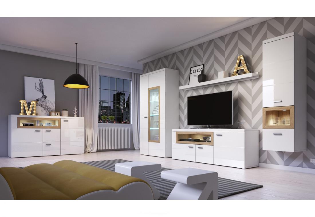 Obývacia zostava + LED NOBIX, záves.vitrína ľavá, TV komoda, komoda, vitrína 2d, police, biely laminat / biely lesk-dub beaufort