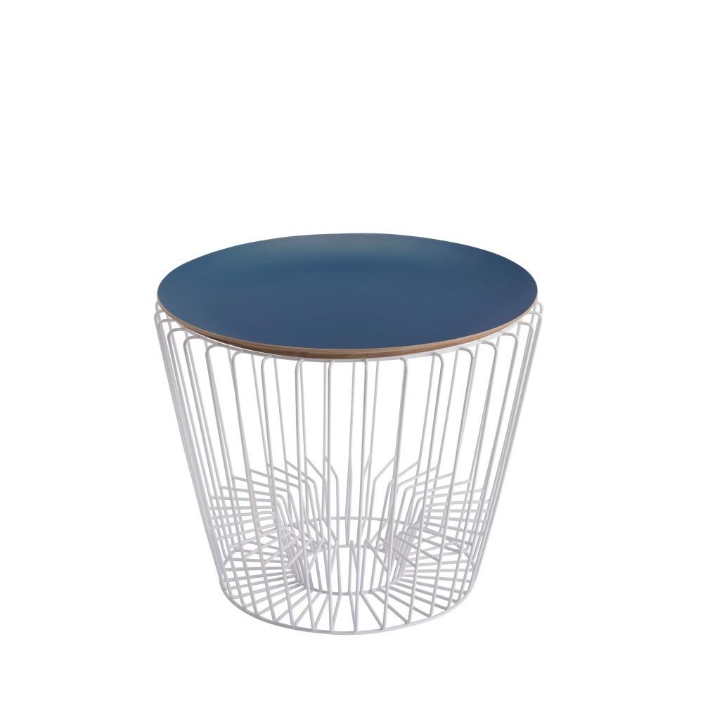 Odkladací stolík z lakovaného kovu s modrou doskou HARTÔ Ernest, Ø50 cm