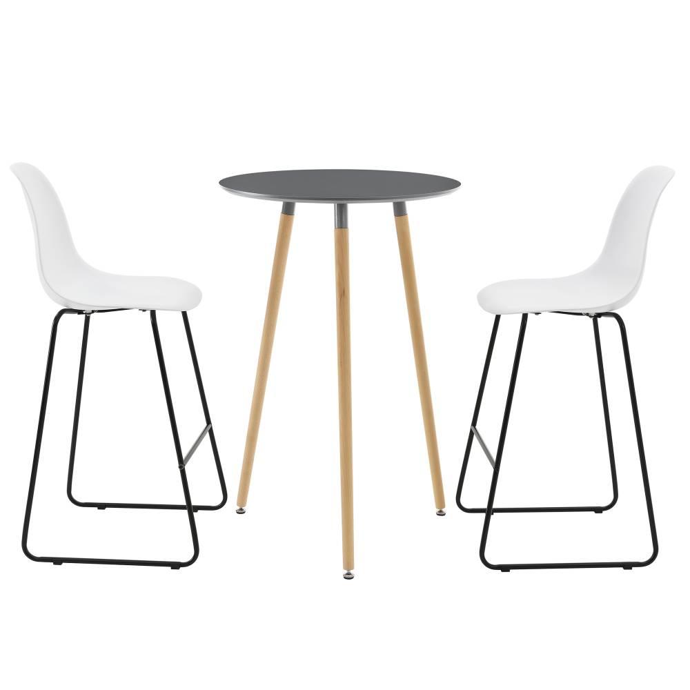 [en.casa]® Okrúhly barový stôl - Ø 70 cm + sada 2 stoličiek - biele