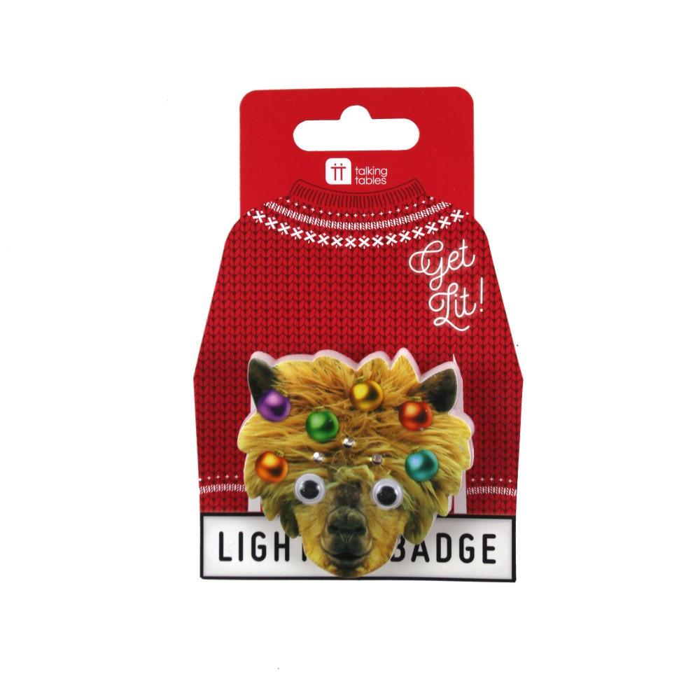 Vianočná brošňa s LED osvetlením v tvare lamy Talking Tables Lama