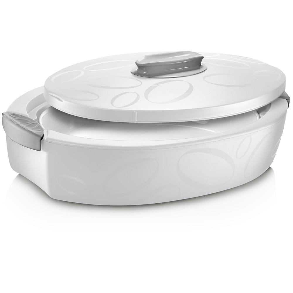 Biely oválný termo box so zapekacou misou Enjoy, 3 l