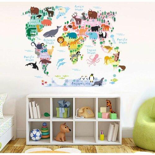 Samolepiaca dekorácia Detská mapa sveta zvieratká, 90 x 70 cm