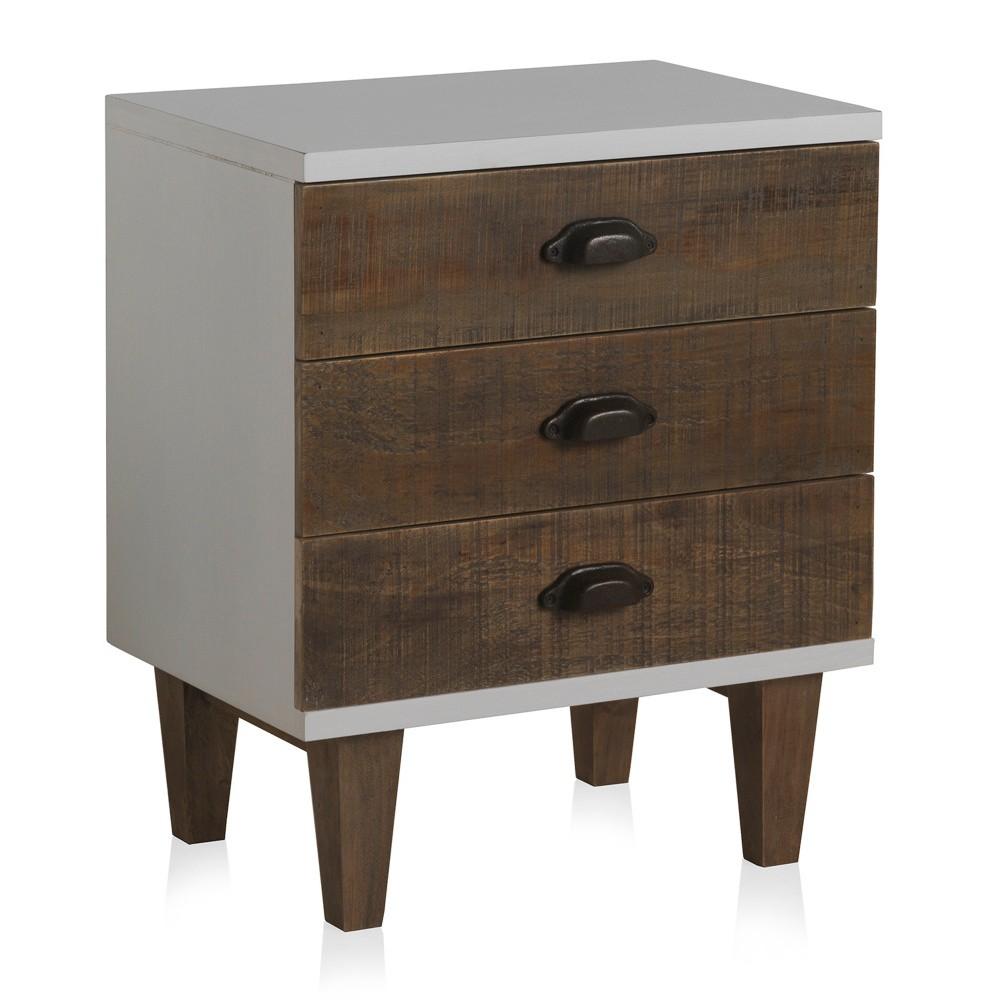 Biely nočný stolík s 3 zásuvkami Geese Rustic